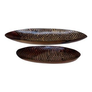Late 20th Century Vintage African Wood Bowls - A Pair For Sale