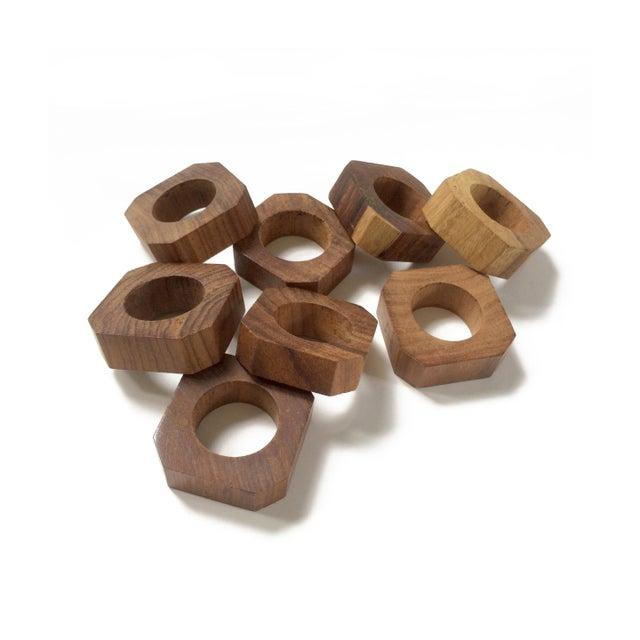 Vintage Solid Teak Wood Napkin Rings - Set of 8 For Sale In Orlando - Image 6 of 6