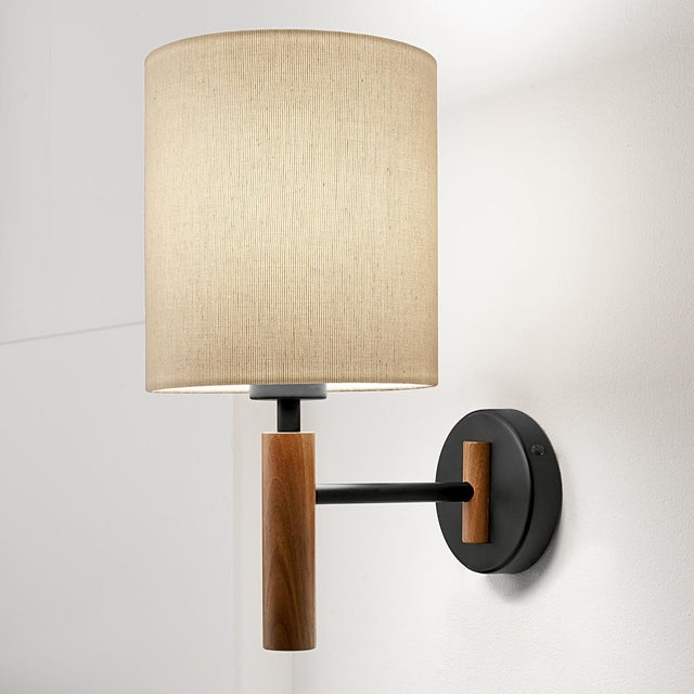 Art Deco Satin Black and Walnut Wall Light With Shade For Sale - Image 3 of 4