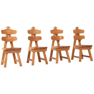 Brutalist Oak Spanish Dining Chairs For Sale