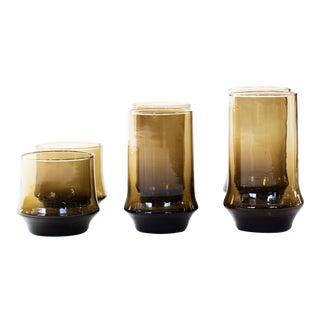 Vintage Brown Smoke Glasses - Set of 16 For Sale