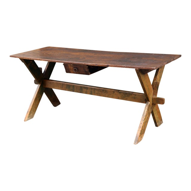 Late 19th-Early 20th Century Trestle Table - Image 1 of 6