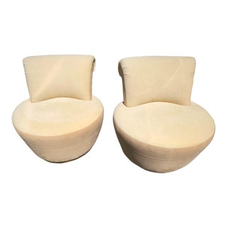 1970s Weiman Mid-Century Modern Two-Tone Swivel Chairs - A Pair For Sale