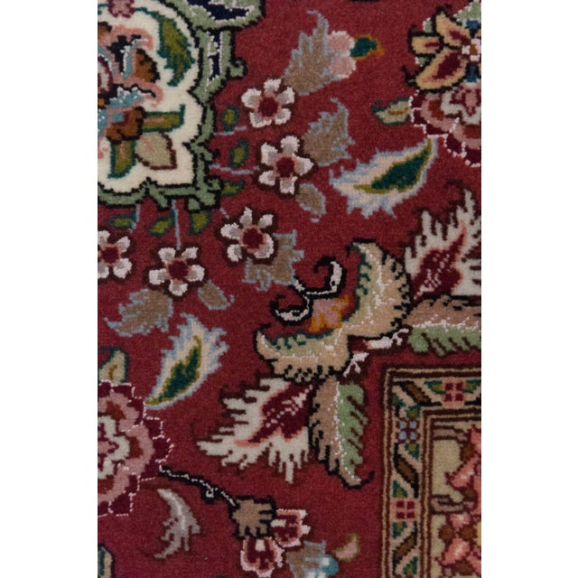 """French Country Tabriz, Hand Knotted Burgandy White Medallion Wool Area Rug - 8' 2"""" X 9' 10"""" For Sale - Image 3 of 3"""