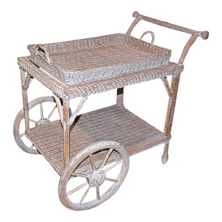 Smithsonian-Henry Link Wicker Tea Cart For Sale