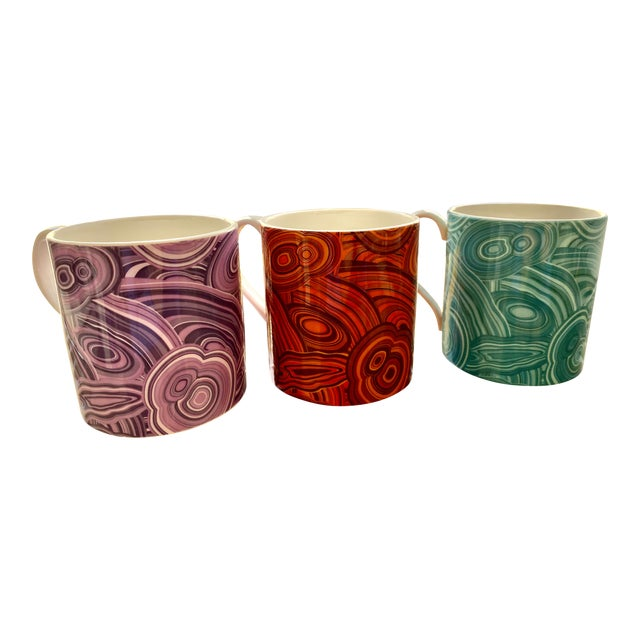 Jonathan Adler Malachite-Patterned Mugs - Set of 2 For Sale