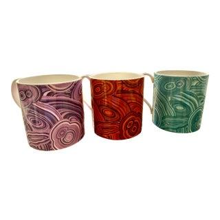 Jonathan Adler Malachite-Patterned Mugs - Set of 3 For Sale