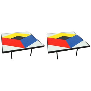 Reverse Painted Glass Coffee Tables - a Pair For Sale