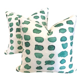 Green Watercolor Dot Pillows - a Pair For Sale