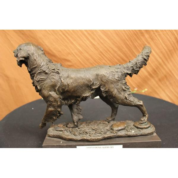 Golden Retriever Bronze Sculpture on Marble Base Figurine - Image 3 of 6