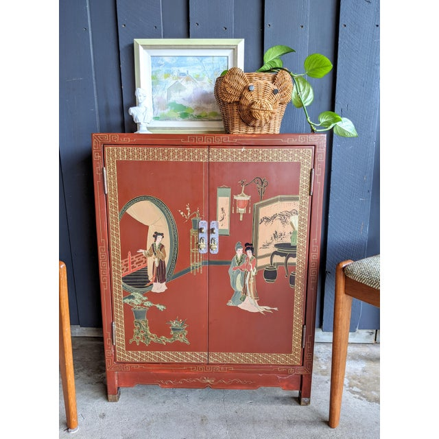 1960s Hand-Painted Chinoiserie Cabinet / Night Stand For Sale In Dallas - Image 6 of 13