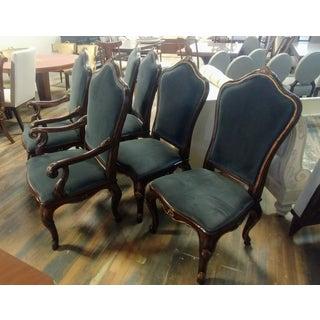 Henredon Furniture Venetian Mahogany Velvet Dining Chair-Set Of 6 Preview