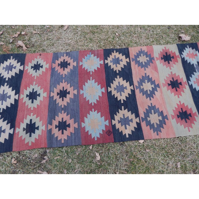 "Vintage Muted Orange Turkish Kilim Runner Rug 2'6"" X 9'4"" For Sale In Dallas - Image 6 of 13"