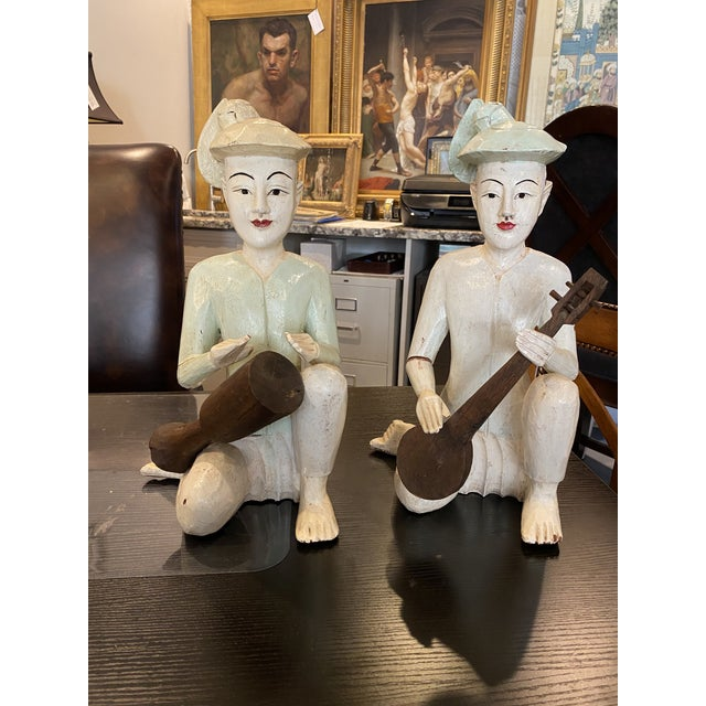 Cream Thailand Wooden Musician Figurines - a Pair For Sale - Image 8 of 8