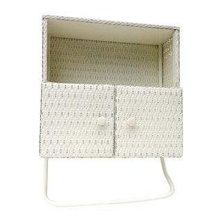Midcentury White Wicker Shelf