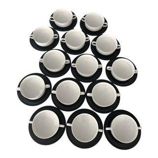 Rosenthal Porcelaine Noire Cream Soup Bowls & Saucers - 28 Pieces / Service for 14 For Sale