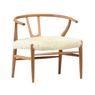 White Fur Oak Occasional Chair For Sale