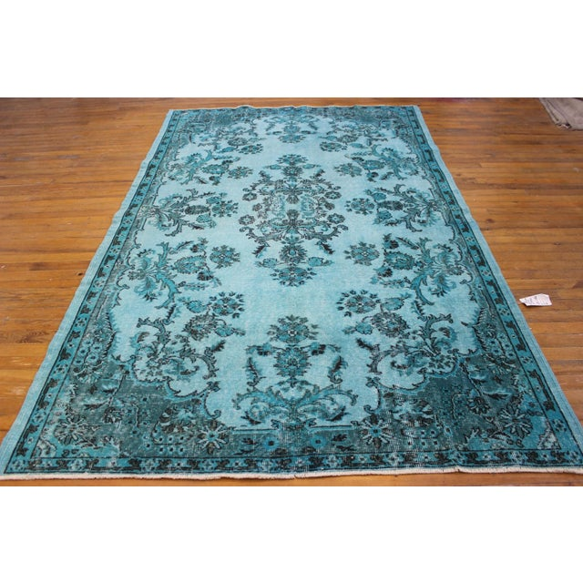 "Aqua Over-Dyed Turkish Oushak Rug - 5'7"" x 9'1"" - Image 2 of 6"