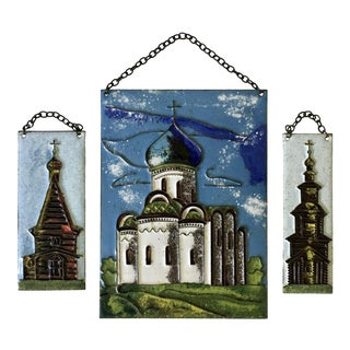 Enameled Jewish Temple Plaques, Set of 3 For Sale