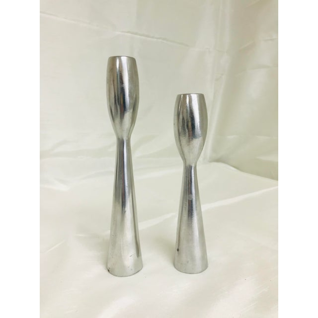 Mid-Century Modern 1960s Vintage Space Age Atomic Era Brush Metal Candlestick Holders- A Pair For Sale - Image 3 of 9