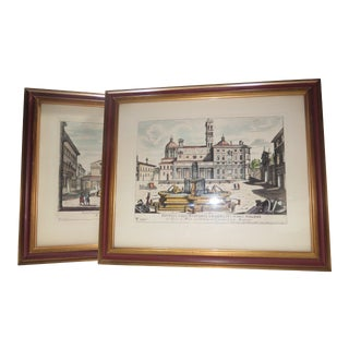 Early 20th C. Vintage Italian Rome Engravings Hand Colored Original Print by Gregorio Rossi Repro - A Pair For Sale