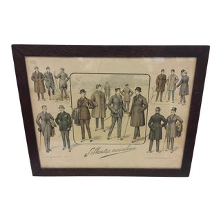 1920s Vintage French Men Fashion Poster For Sale
