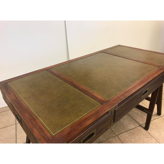 Rosewood Campaign Desk with Leather Top For Sale In New York - Image 6 of 9