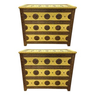 Three-Drawer Commodes, Chests or Nightstands in Hollywood Regency Style, a Pair For Sale