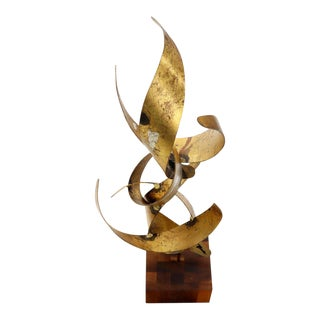 William Bowie Table Top Metal Gold Leaf Sculpture Solid Wood Block Base For Sale