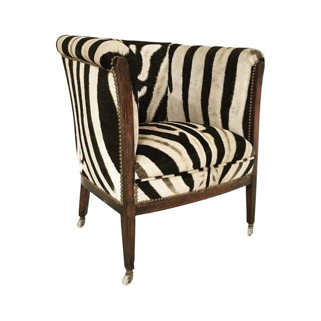 Vintage 1930s Barrel Chair in Zebra Hide - Image 1 of 11