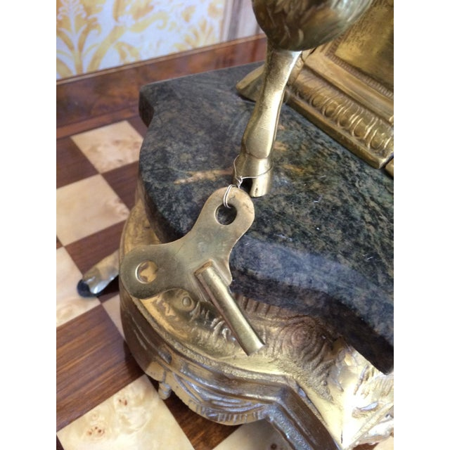 Rococo Louis XVI French Marble & Bronze Mantel Clock For Sale - Image 5 of 6