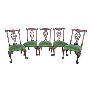 1800's English Oak Hand Carved Ball Claw Chippendale Dining Chairs-Set of 5 For Sale