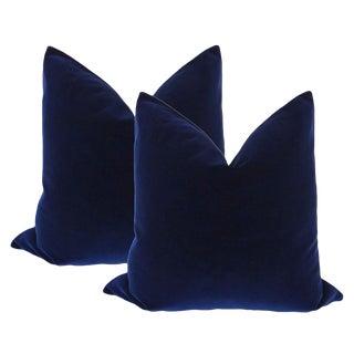 """20"""" Sapphire Blue Velvet Pillows - a Pair"""
