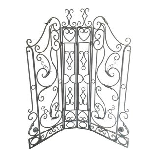 Vintage Wrought Iron Gate Screen Room Divider Architectural Decor- 4 Pieces For Sale