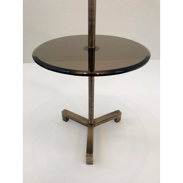 Mid-Century Modern Mid Century Charles Hollis Jones Brass and Bronze Glass Floor Lamp For Sale - Image 3 of 7