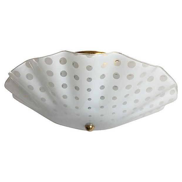 1950s Ruffled Polka Dot Flush Light For Sale - Image 5 of 8
