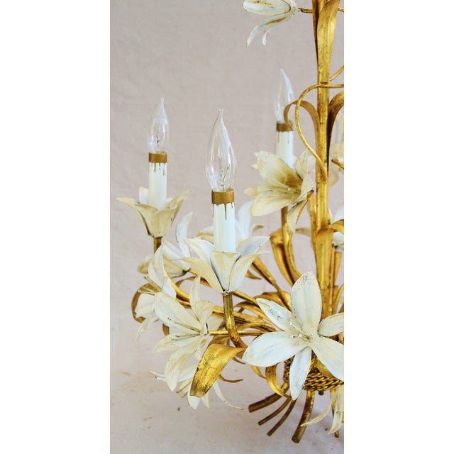 Metal Vintage Five-Arm/Light Italian Gold Gilt Lily Tole Chandelier For Sale - Image 7 of 11