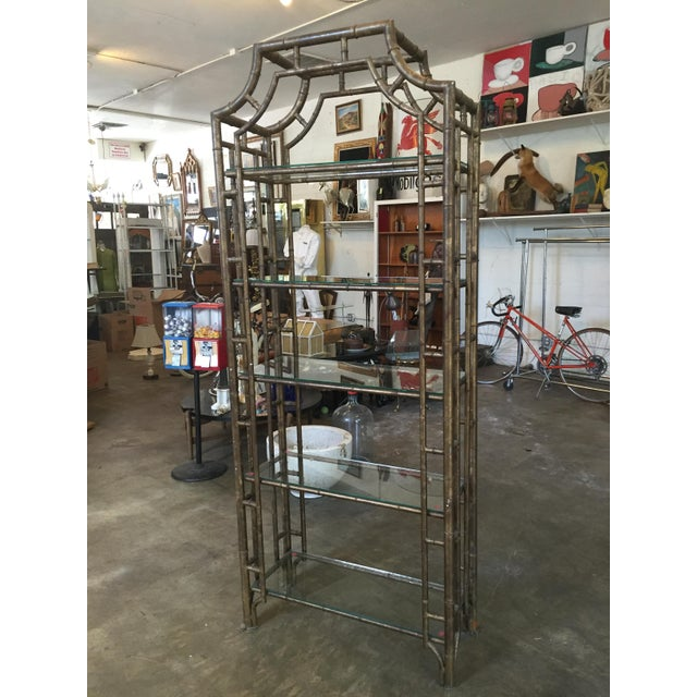 60s Vintage Hollywood Regency Faux Bamboo Bronze Patina Etagere - Image 2 of 9