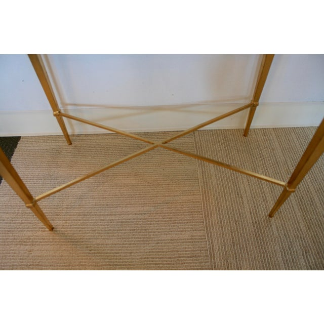 Glass Gold Leaf Mirrored Side Table For Sale - Image 7 of 7