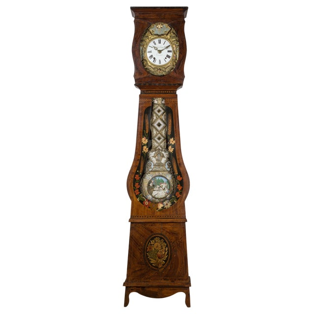 19th Century French Comtoise Grandfather Clock With Automated Pendulum For Sale