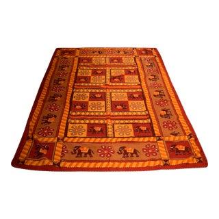 Handmade Indian Kantha Elephant Quilt