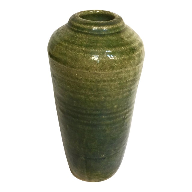Vintage Hand Thrown Pottery Vase, Green - Image 1 of 9