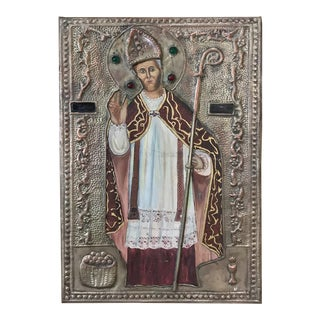 19th Century Spanish Painted Embossed Brass Plaque of Pope For Sale