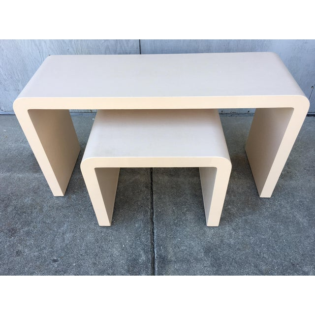 Modernist Waterfall Lacquered Linen Console and Side Table For Sale - Image 12 of 12
