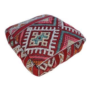Modern Moroccan K2 Old Hanbal Kilim Pouf / Ottoman For Sale