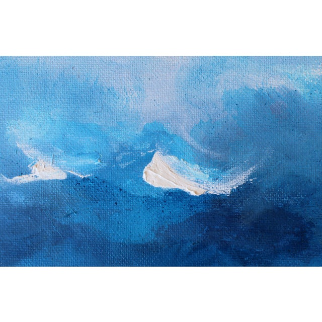 Beach Coastal Original Abstract Oil Painting Swept Away Modern Blue White For Sale - Image 4 of 4