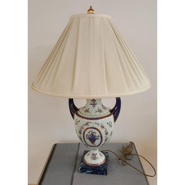 Art Nouveau Winterthur Porcelain Blue and White China Table Lamp For Sale - Image 3 of 8