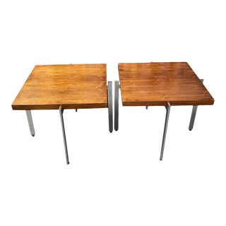 1960s Milo Baughman for Thayer Coggin Walnut/Chrome Side Tables - a Pair For Sale