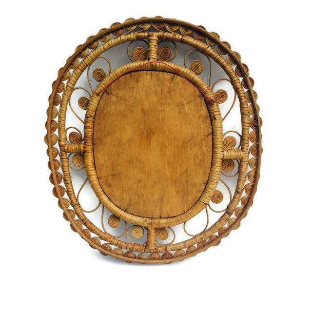 Vintage Rattan & Bamboo Peacock Curl Mirror - Image 5 of 8