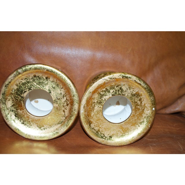 Gold Leaf Ceramic Candle Holders -Pair - Image 7 of 7